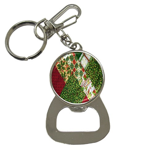 Christmas Quilt Background Bottle Opener Key Chains