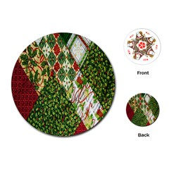 Christmas Quilt Background Playing Cards (Round)