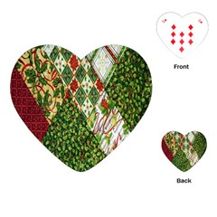 Christmas Quilt Background Playing Cards (Heart)