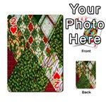 Christmas Quilt Background Playing Cards 54 Designs  Front - Heart2