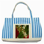 Christmas Quilt Background Striped Blue Tote Bag Front