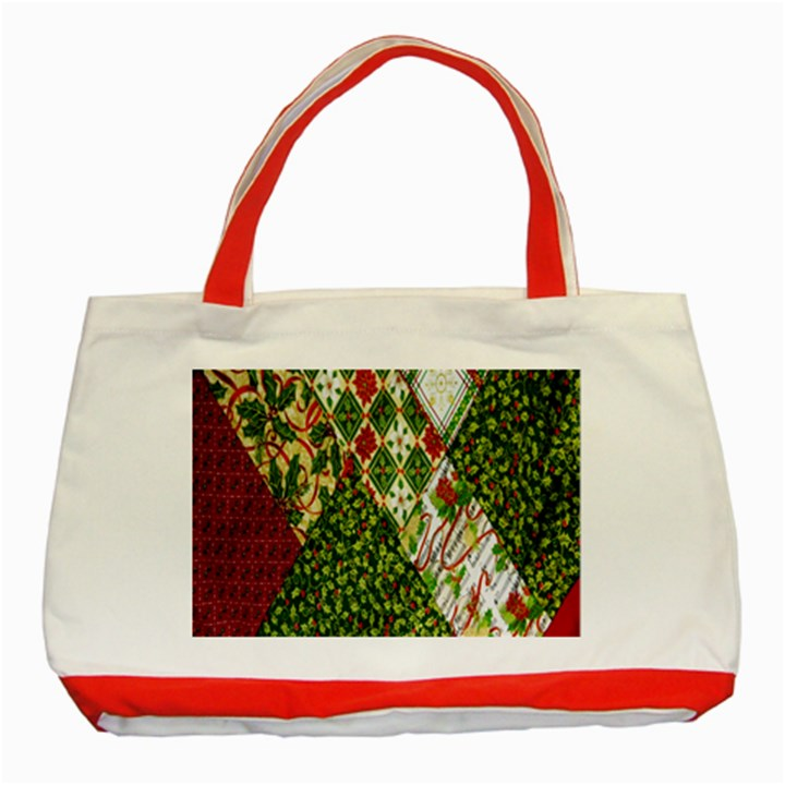 Christmas Quilt Background Classic Tote Bag (Red)