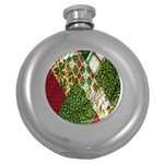 Christmas Quilt Background Round Hip Flask (5 oz) Front