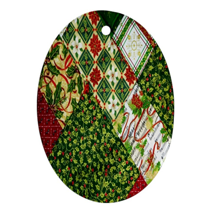 Christmas Quilt Background Oval Ornament (Two Sides)