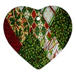 Christmas Quilt Background Heart Ornament (2 Sides) Back