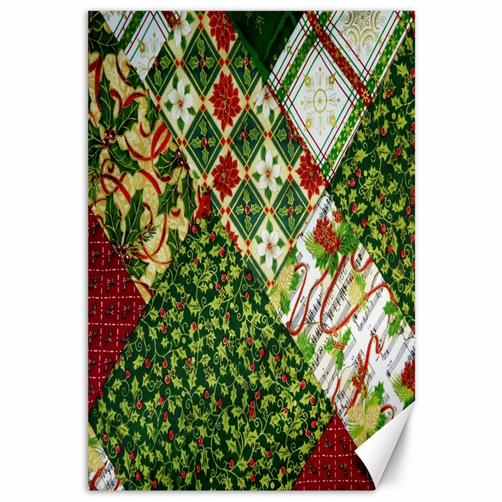 Christmas Quilt Background Canvas 12  x 18