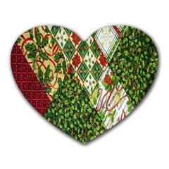 Christmas Quilt Background Heart Mousepads