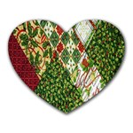 Christmas Quilt Background Heart Mousepads Front