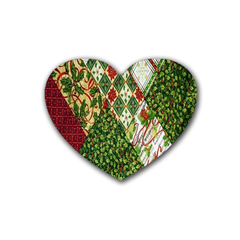Christmas Quilt Background Rubber Coaster (Heart)