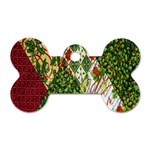 Christmas Quilt Background Dog Tag Bone (Two Sides) Back