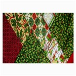 Christmas Quilt Background Large Glasses Cloth (2-Side) Front