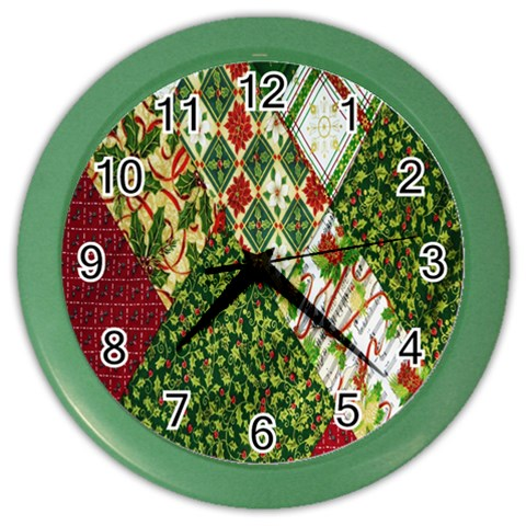 Christmas Quilt Background Color Wall Clocks