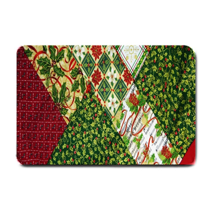 Christmas Quilt Background Small Doormat