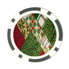 Christmas Quilt Background Poker Chip Card Guards