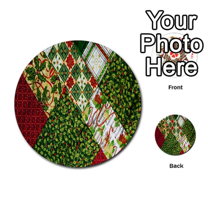 Christmas Quilt Background Multi-purpose Cards (Round)