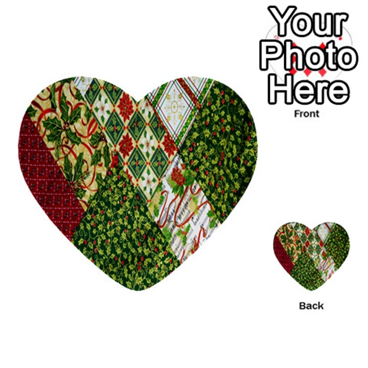 Christmas Quilt Background Multi-purpose Cards (Heart)