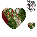 Christmas Quilt Background Multi-purpose Cards (Heart)  Front 50