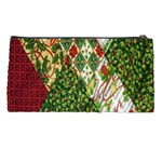 Christmas Quilt Background Pencil Cases Back