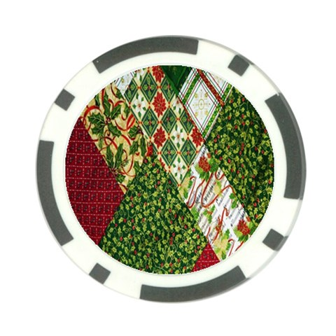 Christmas Quilt Background Poker Chip Card Guards (10 pack)