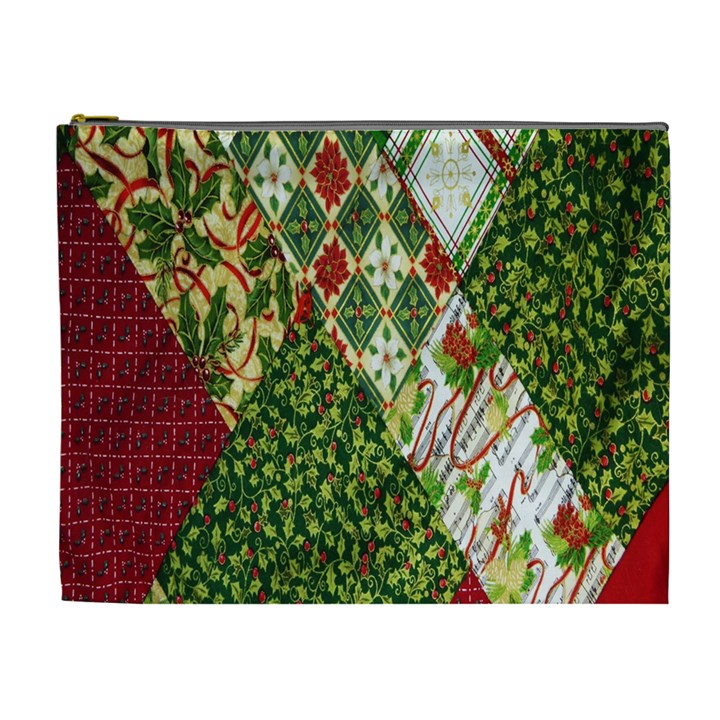 Christmas Quilt Background Cosmetic Bag (XL)