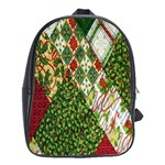 Christmas Quilt Background School Bags(Large)  Front