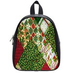 Christmas Quilt Background School Bags (Small)  Front