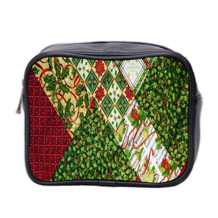Christmas Quilt Background Mini Toiletries Bag 2-Side