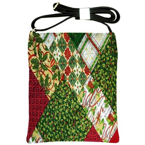 Christmas Quilt Background Shoulder Sling Bags