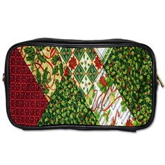 Christmas Quilt Background Toiletries Bags