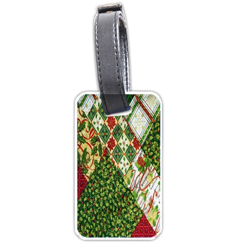 Christmas Quilt Background Luggage Tags (Two Sides)