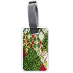 Christmas Quilt Background Luggage Tags (Two Sides) Back