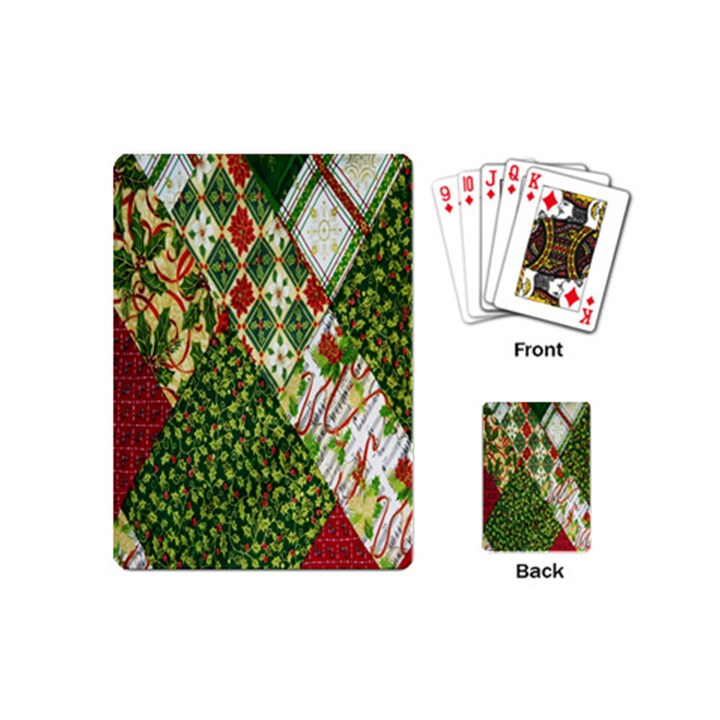 Christmas Quilt Background Playing Cards (Mini)
