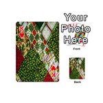 Christmas Quilt Background Playing Cards 54 (Mini)  Front - HeartK