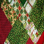 Christmas Quilt Background Storage Stool 12   Front