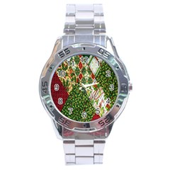 Christmas Quilt Background Stainless Steel Analogue Watch