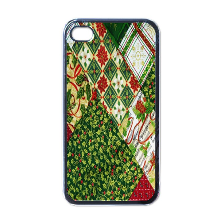 Christmas Quilt Background Apple iPhone 4 Case (Black)
