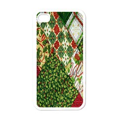 Christmas Quilt Background Apple iPhone 4 Case (White)