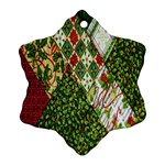 Christmas Quilt Background Ornament (Snowflake)  Front