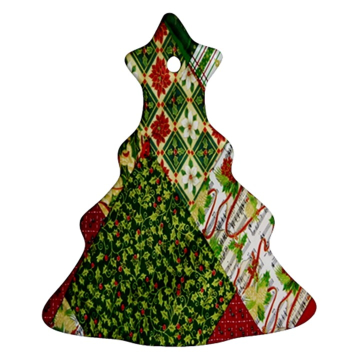 Christmas Quilt Background Christmas Tree Ornament (2 Sides)