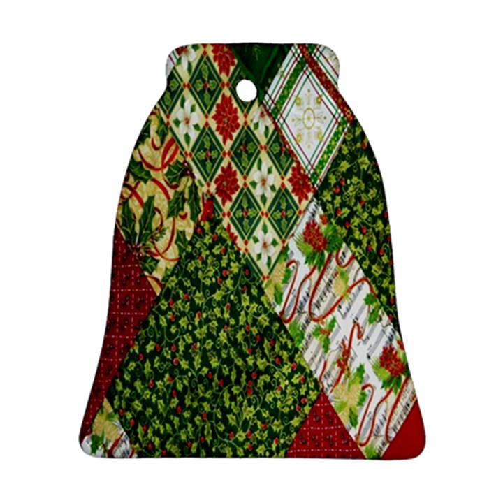 Christmas Quilt Background Bell Ornament (2 Sides)