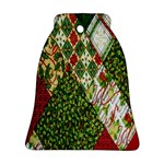 Christmas Quilt Background Bell Ornament (2 Sides) Back