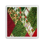 Christmas Quilt Background Memory Card Reader (Square)  Front