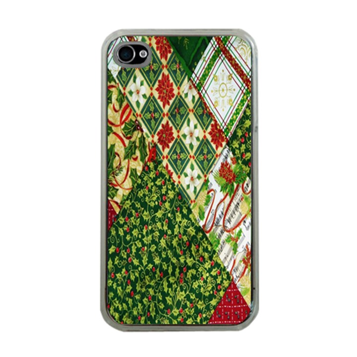 Christmas Quilt Background Apple iPhone 4 Case (Clear)
