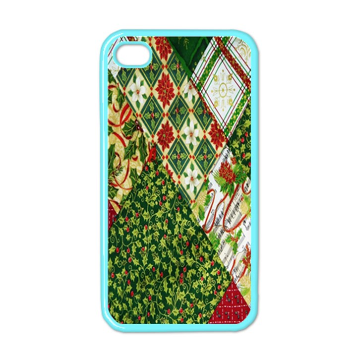 Christmas Quilt Background Apple iPhone 4 Case (Color)