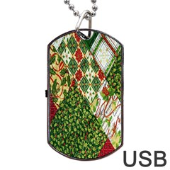 Christmas Quilt Background Dog Tag USB Flash (One Side)