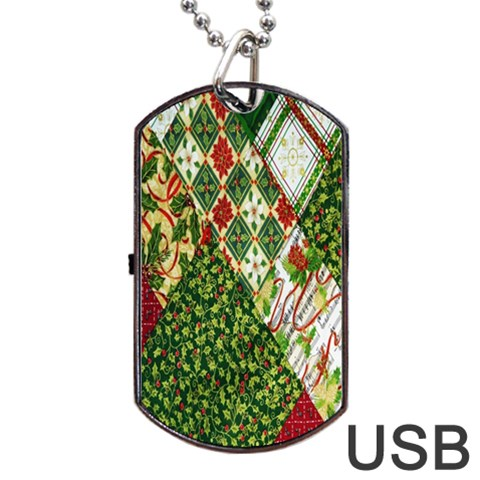 Christmas Quilt Background Dog Tag USB Flash (Two Sides)