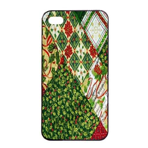 Christmas Quilt Background Apple iPhone 4/4s Seamless Case (Black)