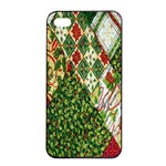 Christmas Quilt Background Apple iPhone 4/4s Seamless Case (Black) Front