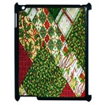 Christmas Quilt Background Apple iPad 2 Case (Black) Front