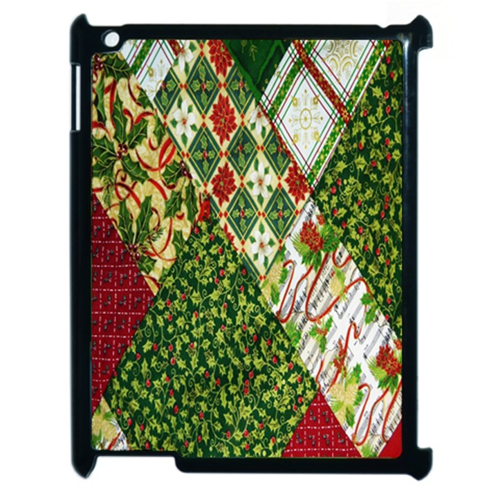 Christmas Quilt Background Apple iPad 2 Case (Black)
